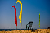 Bali flags and chair on beach