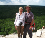 Julie & Tom atop the Coba ruins