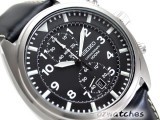 SEIKO CHRONOGRAPH 100M SNN231 SNN231P2 BLACK LEATHER