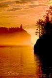 40.4 - Split Rock Lighthouse With Loon In Sunrise Fog