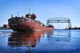 94.1 - Ore Boat Charles M. Beeghly Heading Out To Lake Superior Through Aerial Lift Bridge