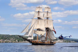 Tall Ships TS5: US Brig Niagara With A (Very Close) Helicopter