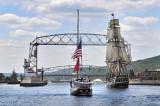 Tall Ships TS21: HMS Bounty And (?) Nearing Aerial Lift Bridge
