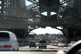 Taken from the car, driving over the Sydney Harbour Bridge..