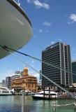 The bow... Diamond Princess... tied up at Princes Wharf, Auckland City, New Zealand.