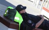 Security Guard...Sleeping on the job.