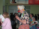Patch Adams in the airport in Haiti, he had rode over on the same flight as us