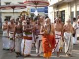 Mylapore - Peyazhwar sattrumarai - HH Embar jeeyar swamy receiving sri satakopa mariyadai.jpg