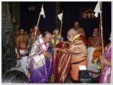 Sri Dr.MAV swamy receiving honours from HH Sri Vanamamalai Jeeyar swamy.jpg