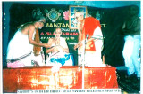 Sri Seva Swamy gives first copy of Sristuti (commentary of Sri ASR) to Purisai Swamy-Sri ASR looks on.JPG