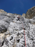 Lagazuoi climbing on good solid dolomite rock