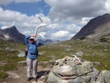 Martina with caribou  antler at Jonas Pass