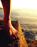 Cornish sun-set on a climber's mangled foot