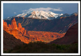 The Fisher Towers and La Sal Mountains