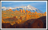 The La Sal Mountains From Behind The Rocks