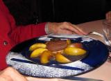 Dessert of peaches