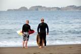 surfers at Baker Beach