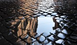 cobblestones and puddle