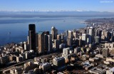 Beautiful Seattle with Puget Sound and Olympic Mountain
