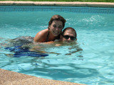 Carrie & Mike playing in the pool