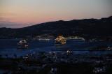 Cruise ships in Mykonos Harbor