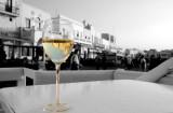 Mykonos in a glass of wine