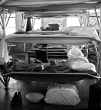 3-level bunk beds.  Am trying Photoshop's newer b&w feature.