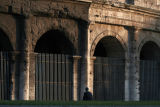 Sundown on gates.  Hard to imagine what went on here centuries ago.