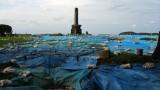 Excavation tarps on the former Hon-maru