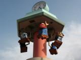 Clock with Kunchi Matsuri float replicas
