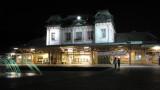 Illuminated Mojikō Station at night