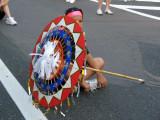 Young umbrella dancer awaiting the start