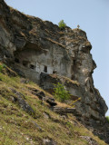 Windows of the cave church on the cliff wall