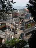 View down the old street from the temple hill