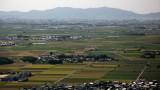 Rice paddies with distant Kusatsu and Ōtsu skylines