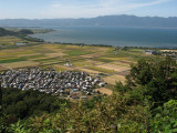 Biwa-ko and mountains of Hira-san in the distance