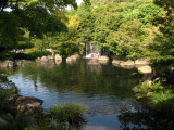 Small waterfall and pond in Oyashiki-no-niwa