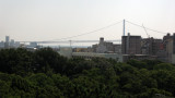 View out to the distant Akashi Kaikyō Bridge