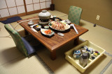 Dinner spread at the ryokan