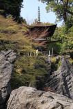 Rocks and greenery beneath the pagoda
