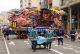 Oncoming nebuta float with dragon images