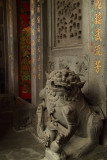 Stone lion at the entrance to Longshan Temple