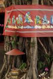 Decorated base of a banyan tree