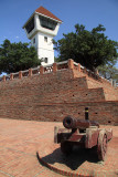 Cannon below the watchtower of Anping Fort
