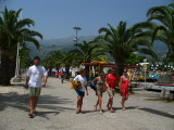 Beach-goers on the main path in