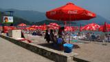 Coca-Cola beach umbrellas on the main beach