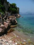 Crystal-clear water beside Sveti Stefan