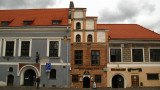 Old town facades on the north side of Rotušės aikšte