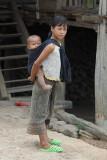 Akha girl and baby Muang Sing