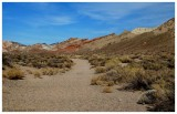 Our hiking trail. Red, brownish and white rocks on the right